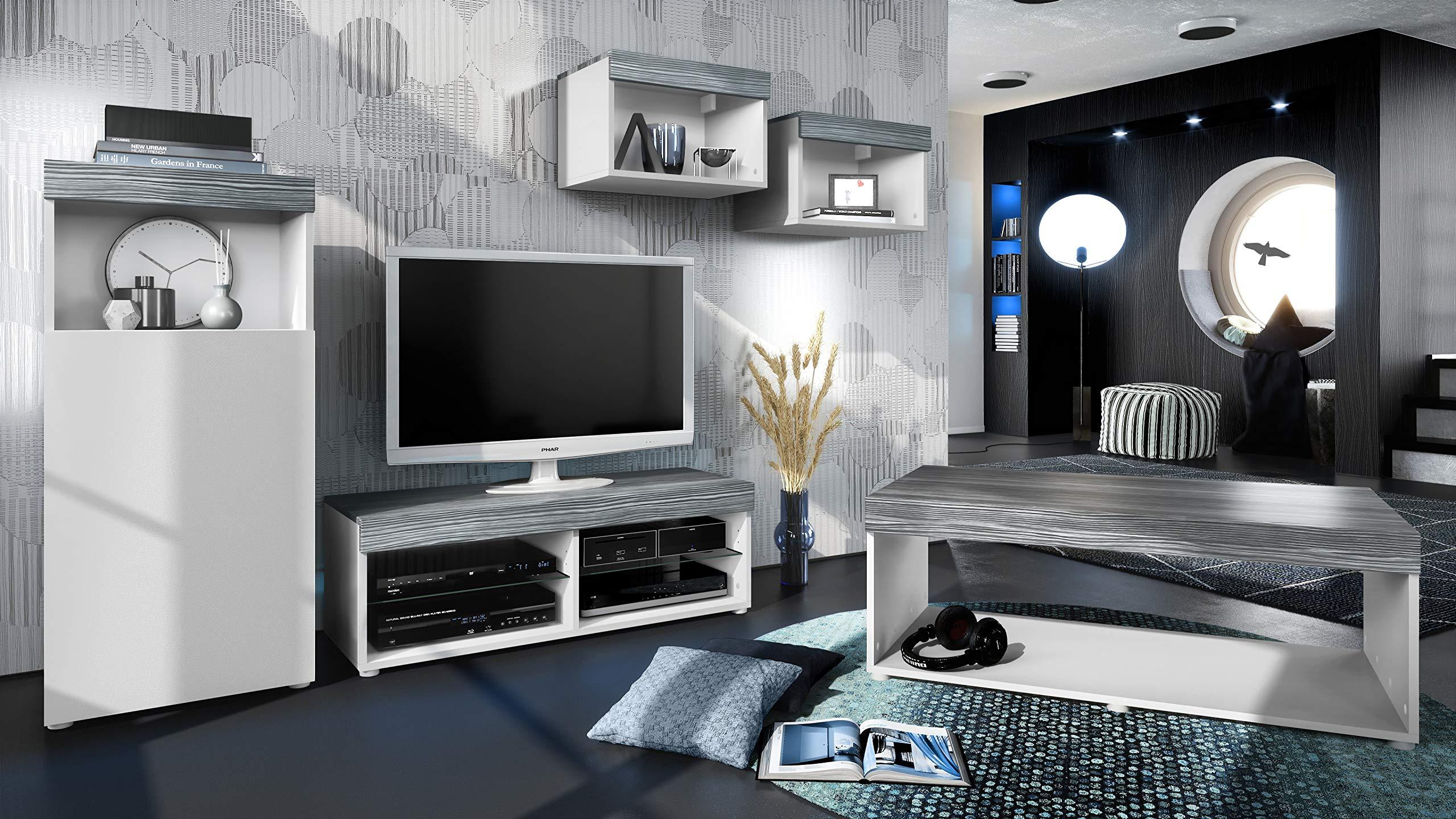Conjunto de Muebles Pure para Sala de Estar | Mesa Baja, 2 estanterías, gabinete, Mesa | Cuerpo en Blanco Mate/Partes Superiores y Paneles en avola Antracita | Amplia selección de Colores: Vladon: