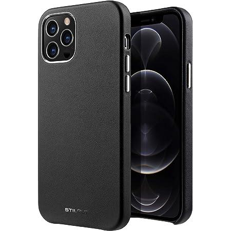 StilGut Carcasa Compatible con iPhone 12 Pro MAX,Funda de Piel auténtica, Cuero Negro