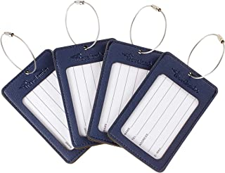 Leather Luggage Tag Suitcase Bag Travel Tags (Navy Blue 4 pcs Set)