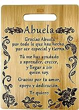 "Best Regalo para abuela: tabla de cortar de bambú grabada (22 x 30 cm) Gift for Grandma in Spanish-Engraved bamboo cutting board 9""x12"" Reviews"