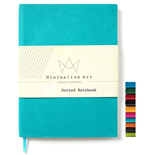 "Minimalism Art | Soft Cover Notebook Journal, Size:5.8""X8.3"", A5, Blue, Dotted Grid Page, 176 Pages, Fine PU Leather, Premium Thick Paper - 100gsm 