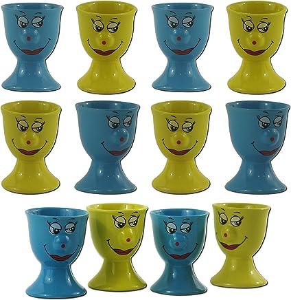 Preisvergleich für 12er SET Eierbecher Gelb Blau Keramik Eierhalter Eier Becher Funny Face Gesicht Smiley Ei