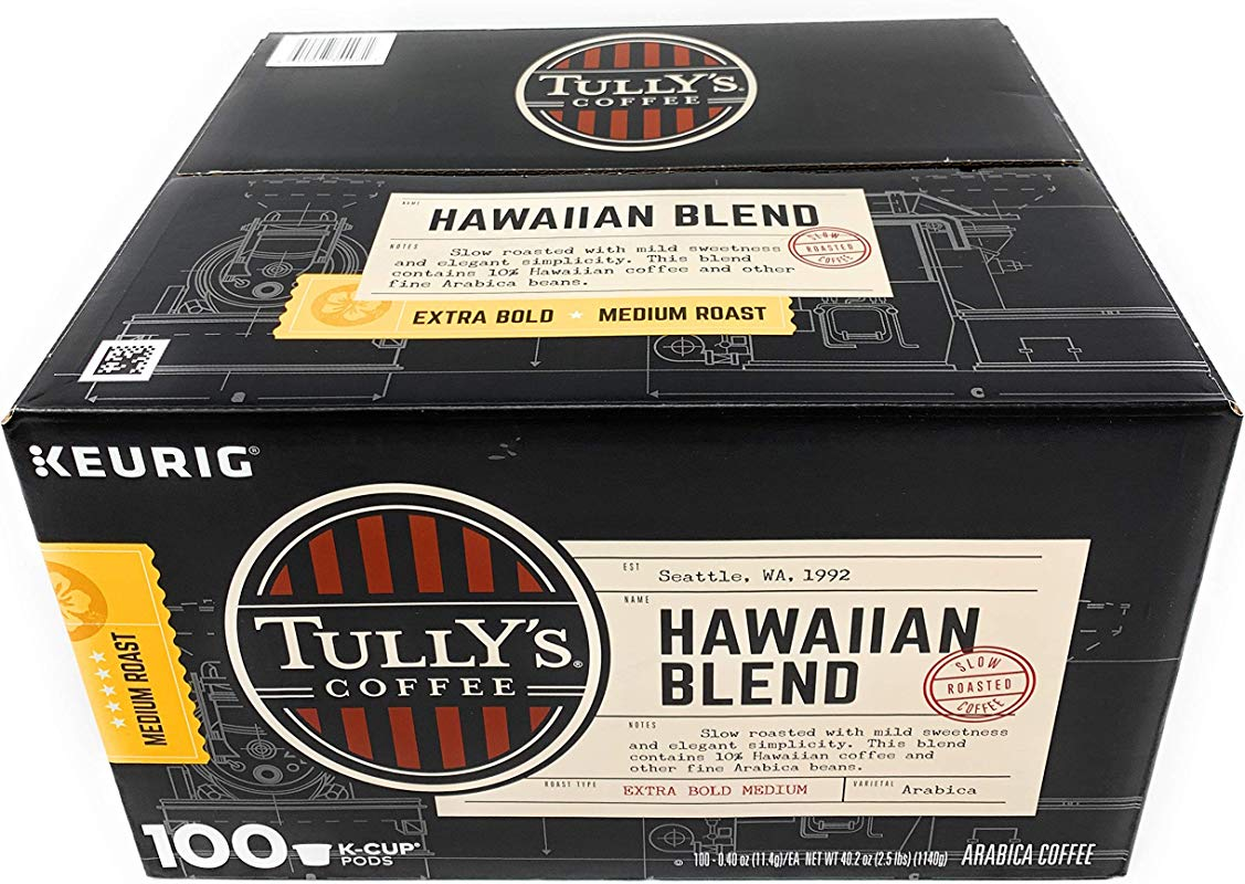Tully S Coffee Hawaiian Blend K Cup For Keurig Brewers Pack Of 100