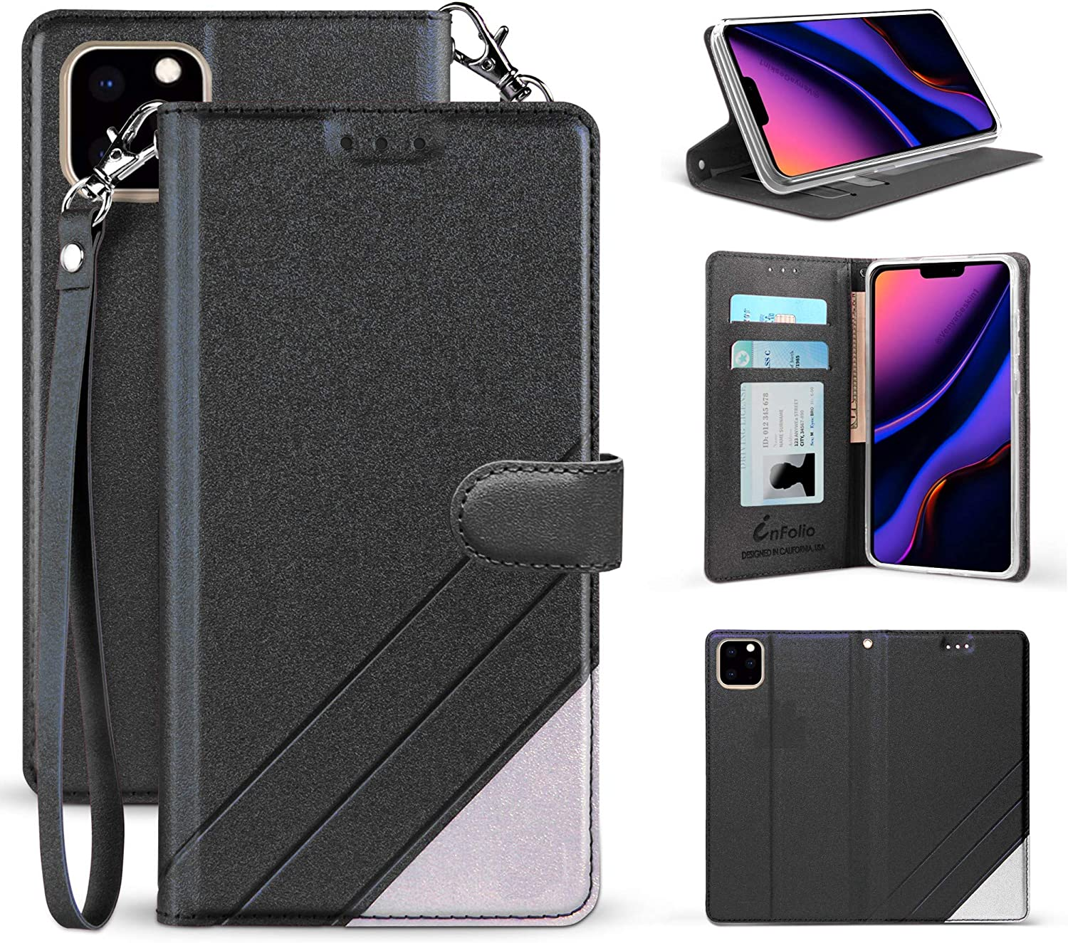 PimpCase Infolio C Compatible with   iPhone 11   Wallet Case Slim Design Synthetic Leather [ Wallet Cover }Synthetic Leather - Black