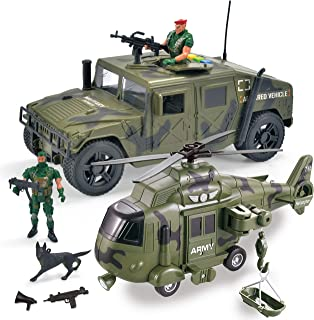 JOYIN 2 in 1 Friction Powered Military Vehicle Truck Car Set Including Humvee, Helicopter and Army Men Action Figures with Lights and Sounds / Sirens