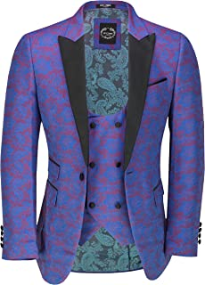 Xposed Men's Floral Brocade Print Tuxedo Jacket Paisley Smart Casual Tailored Fit Dinner Blazer and Waistcoat