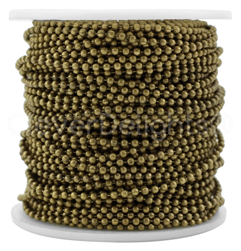 CleverDelights Ball Chain Spool - 30 Feet - 2.0mm Ball - Antique Bronze Color - 10 Meters