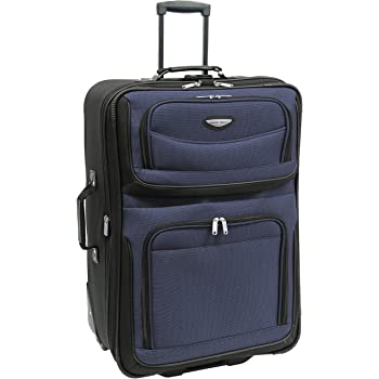 Travel Select Amsterdam Expandable Rolling Upright Luggage, Navy, Checked-Large 29-Inch