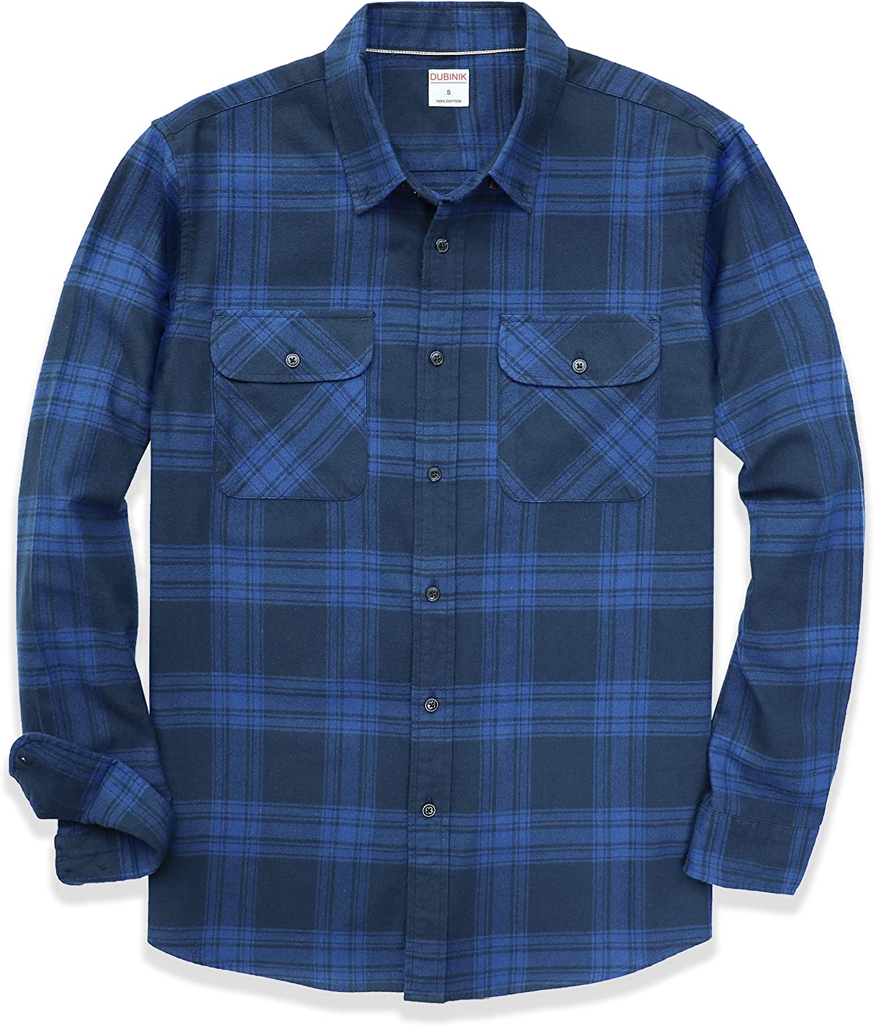 Dubinik Flannel Shirts for Men Long Sleeve Button Down Plaid 100% Cotton Casual Shirt with Pocket