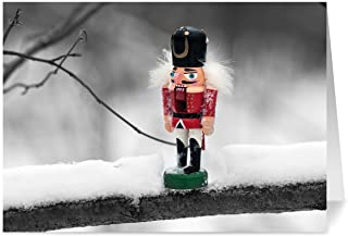 Christmas Cards, Holiday Cards - One Jade Lane - Nutcracker, 5x7, Heavy Stock, Set of 18 Happy New Year Cards & Envelopes, Seasons Greetings Cards.