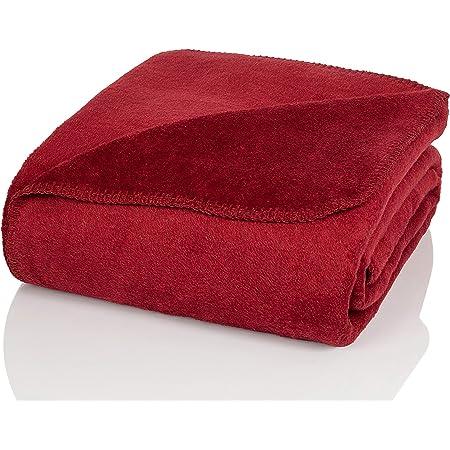 Glart - Couverture douillette, douce et chaude, ultra moelleuse, idéale comme jeté de canapé, plaid, couvre-lit, 130x170cm, rouge bordeaux uni