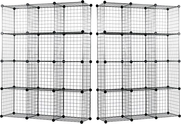 UNICOO Multi Use DIY 12 Cube Wire Grid Organizer Bookcase Bookshelf Storage Cabinet Wardrobe Closet Toy Organizer Wire Cube Storage Black Wire Set Of 2