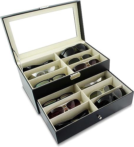 Grinscard Boîte à Lunettes pour Ranger 12 Verres - Noir Environ 34 x 19 x 16 cm - Présentation et Rangement Lunettes ...