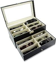 Sfeomi Brillenbox Brillenkoffer mit Schaufenster aus Glas Brillenaufbewahrung Brillenpr/äsentation case PU Leder Brillenbox Sonnenbrillen Aufbewahrung Brillendisplay Brillenorganizer f/ür 8 paar Brillen