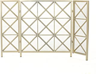 Christopher Knight Home Margaret 3 Panelled Iron Fireplace Screen, Gold