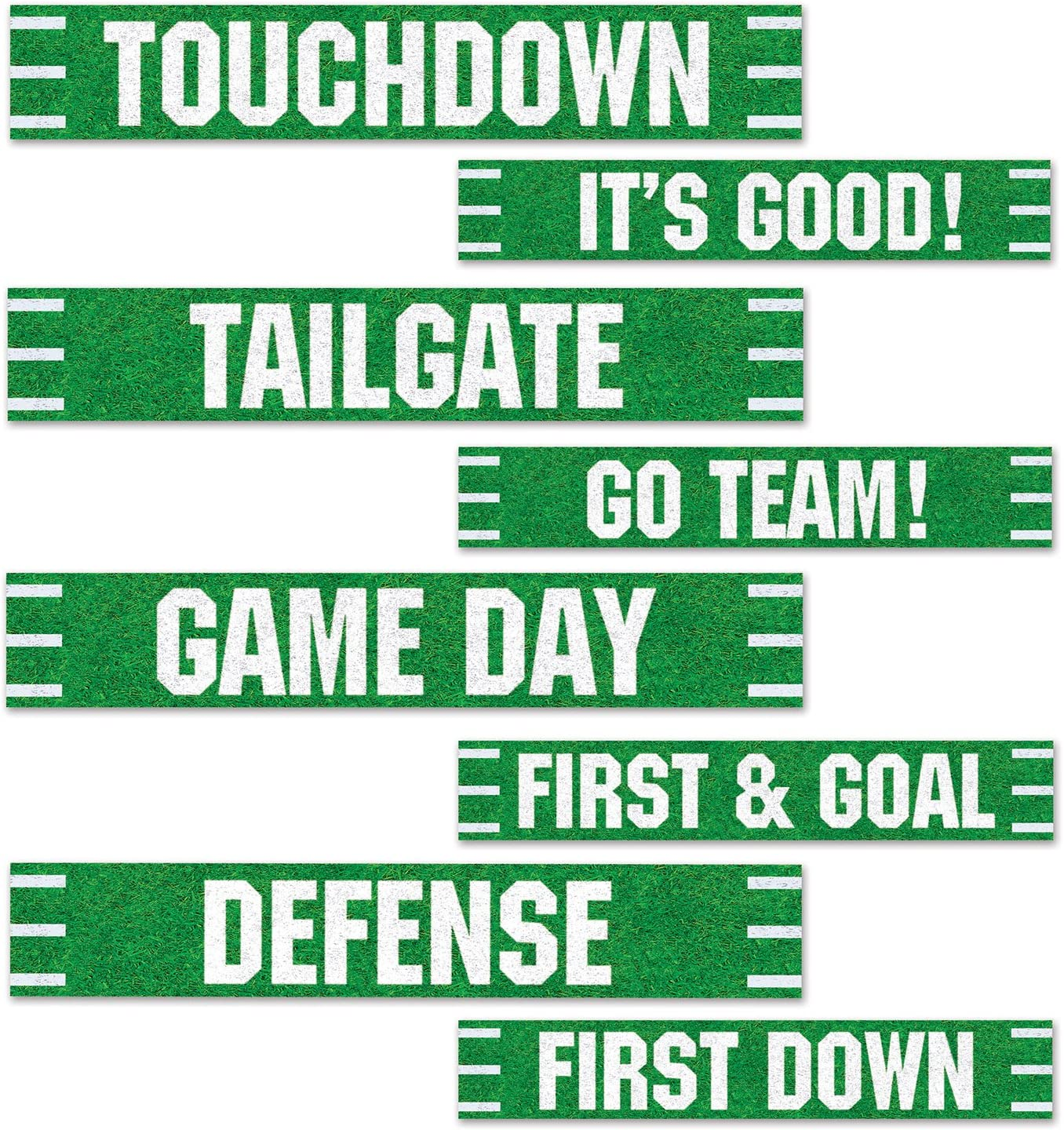 Amazon Com Beistle 4 Piece Game Day Street Sign Cut Outs Sports Birthday Football Theme Party Decorations 4 By 24 Inch Green White Kitchen Dining