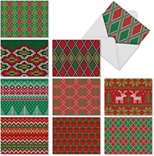 10 Assorted 'Christmas Knits' Christmas Cards with Envelopes 4 x 5.12 inch, Blank Greeting Cards for Parties, Gifts, New Year, Red and Green Stationery Featuring Holiday Sweater Patterns M9625XSB