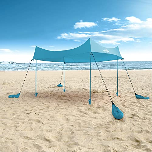 discount Hike Crew Sun Shade Canopy | Lycra Portable Beach Tent Shelter with UPF 50+ UV discount Protection, Built-in Sandbags, Carry Bag, 4 wholesale Poles & 3 Anchor Sets for Various Terrain | Wind, Water & UV Resistant outlet sale