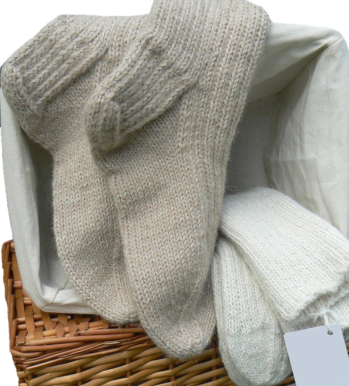 Hypoallergenic Luxe 100% Baby Alpaca wool Socks, Handknit, Thermo, Silky, XXL