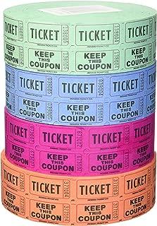 Indiana Ticket Company 56759 Raffle Tickets, (4 Rolls of 2000 Double Tickets) 8, 000 Total 50/50 Raffle Tickets, (Assorted Colors)