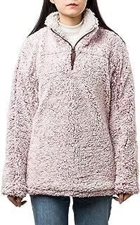 PAAZA Women 1/4 Zip Pullover Frosty Pile Tipped Sweater Stadium Fleece Sherpa Pullover Hoodie