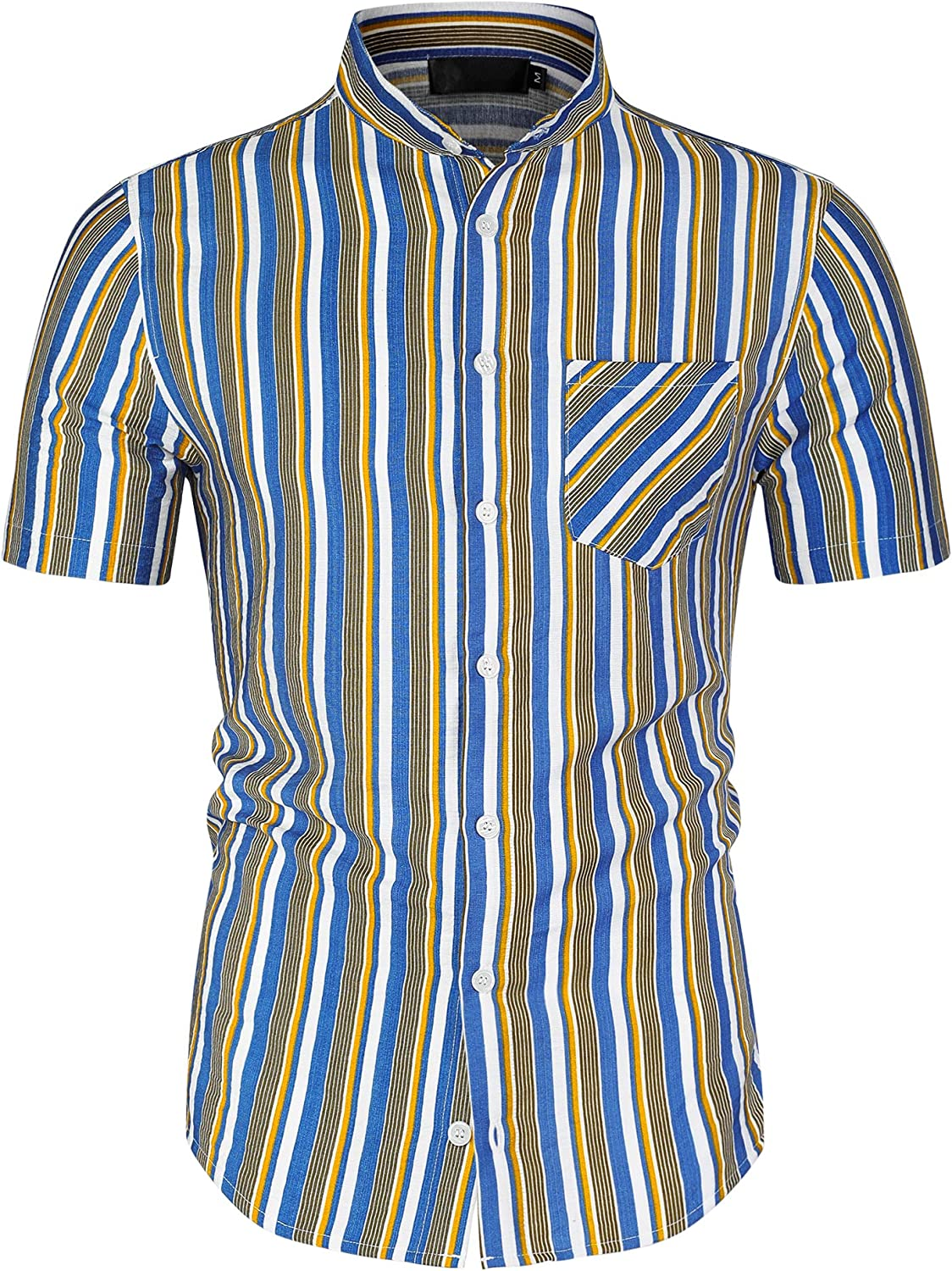Lars Amadeus Men's Max 41% OFF Summer Striped Do Shirts Button NEW Sleeves Short