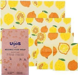 UGOS Organic Beeswax Food Wraps - Reusable Bees Wax Paper Wrap, Assorted 4 Pack (Lemons)