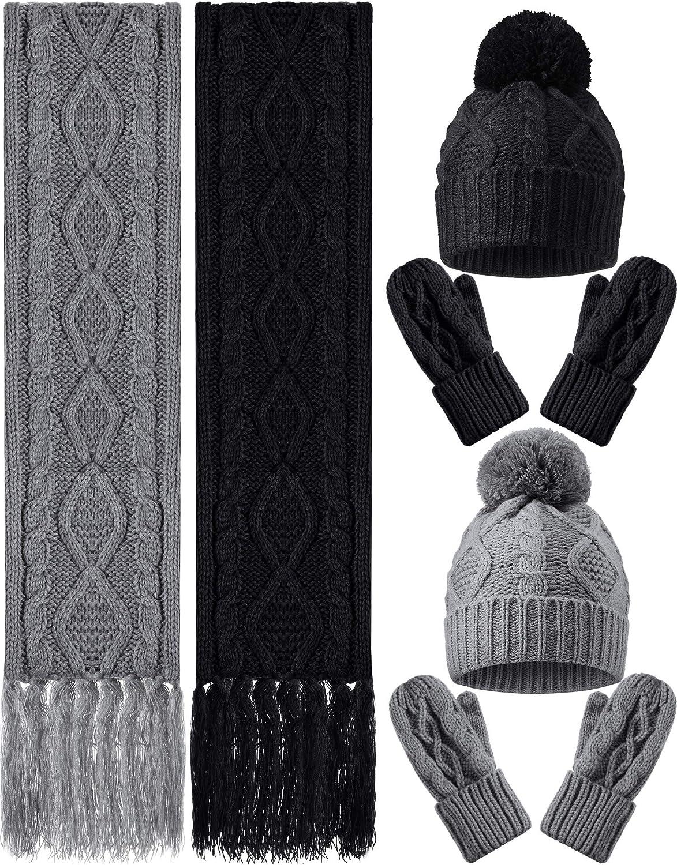 6 Pieces Women Winter Warm Knitted Hat Fresno Mall Beanie Tas Mittens Excellent Gloves