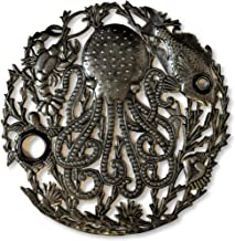 Handcrafted Octopus Sea Wall Decor Fair Trade from Haiti, Recycled Metal Art, Decorative Hanging Art, 24 in. X 24 in. (Ocean Reef)