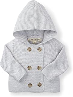 Hope & Henry Layette Baby Long Sleeve Button Front Hooded Sweater