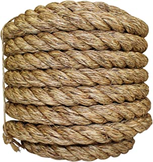 SGT KNOTS Manila Rope | Size 1/4-3 inch | Length 10-1200 ft | Tan Rope/Brown Rope - Twisted Manila 3 Strand Natural Fiber Cord | Ropes for Indoor and Outdoor Use | 1 inch x 50 feet
