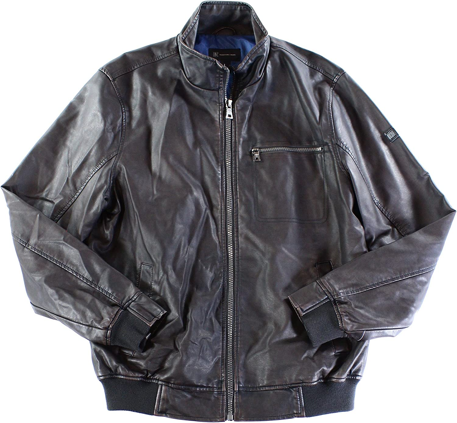 I-N-C Mens Faux Leather Motorcycle Jacket