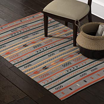 Amazon Brand – Stone & Beam Casual Geometric Cotton Area Rug, 5 x 8 Foot, Flatweave, Grey, Orange, Blue
