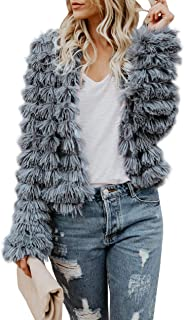 Womens Coat Long Sleeve Open Front Parka Shaggy Faux Fur Coat Jacket Parka
