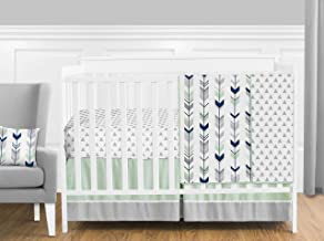 Grey, Navy Blue and Mint Woodland Arrow 4 Piece Baby Boy or Girl Crib Bed Bedding Set Without Bumper