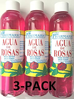 Agua De Rosas 226.8 克。 玫瑰水 3 件装(226.8 克) 每瓶,总共 24 盎司)