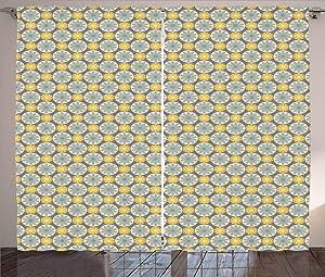 Kenneth Camilla Flowers in Circular Frames Curtain,Adjustable Tie Up Shade Rod Pocket Curtains,72 x 96 inchs