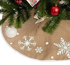 "36"" Burlap Christmas Tree Skirt with Snowflake Pattern, Rustic Tree Skirt Decoration for Xmas Home Holiday Seasonal Decors"