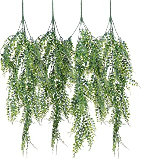 Artiflr 4 Pack Artificial Wall Hanging Plants Artificial Ivy Fake Hanging Vine Plants Decor Plastic Greenery for Home Wall Indoor Outdside (4 Pack Hanging Vine)
