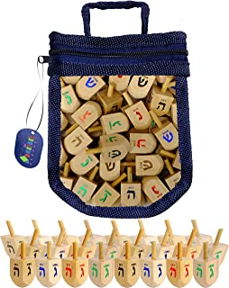 Hanukkah Wood Dreidels Medium Sized with English Transliteration in Keepsake Dreidel Bag- Includes 3 Game Instruction Cards! (25-Pack)