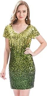 Women's Sequin Glitter Short Sleeve Dress Sexy V Neck Mini Party Club Bodycon Dresses