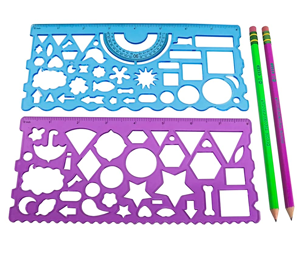 Drawing Measuring Plastic Templates Blue Purple with (2) Colorful Neon Sharpened Pencils (4 Piece Set)