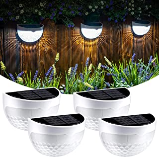 GIGALUMI Solar Fence Post Lights, 4 Pack Deck Lights Outdoor Waterproof Fence Lighting for Fence Deck Step Stair Post Wall...