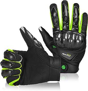 BORLENI Breathable Touch Screen Motorcycle Full Finger Gloves for Men Women Padding Hard Knuckle Cycling Motorbike ATV Hun...