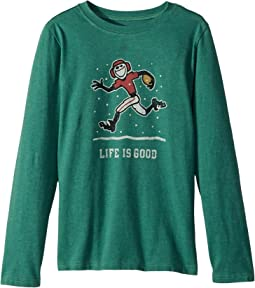 Life is Good Kids - Snow Football Long Sleeve Crusher Tee (Little Kids/Big Kids)