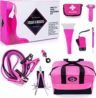 Gears Out Pretty Pink Roadside Kit - Pink Emergency kit for Teen Girls and Women - Lightweight, Soft-Sided Carry Bag with ...