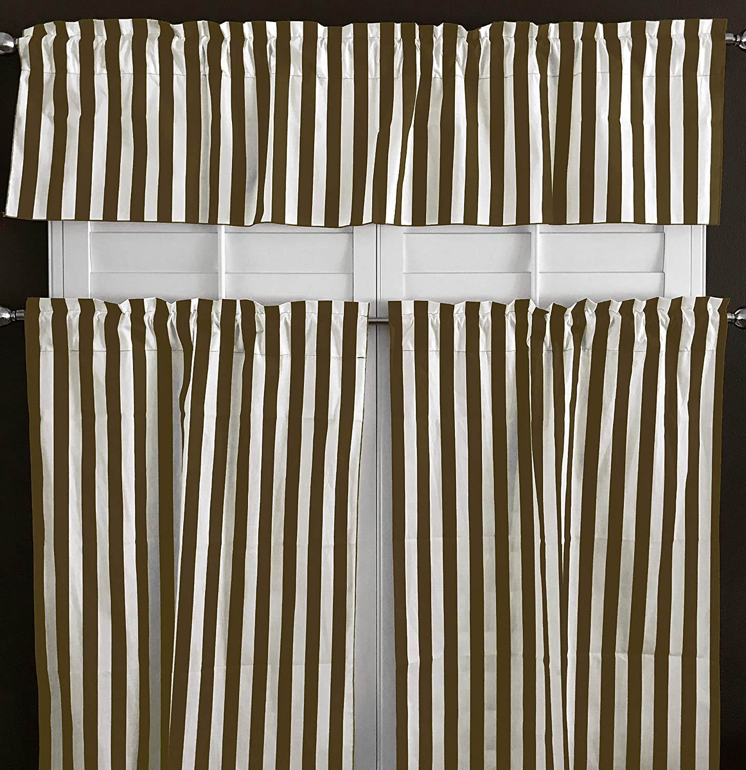 Made to Order in Multiple Sizes Striped Decor Valance and Cafe Curtains Featuring Premier Prints Trey Lipstick Chartreuse