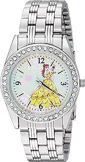 DISNEY Women's Princess Belle Analog-Quartz Watch with Stainless-Steel Strap, Silver, 20 (Model: WDS000240)
