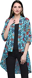 Serein Women's Shrug (Blue Floral Print Georgette Shrug/Jacket with 3/4th Sleeves)