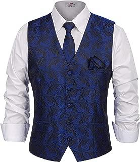 Men's Paisley Tux Vest Tie Handkerchief 3-Piece Set for Suit Tuxedo